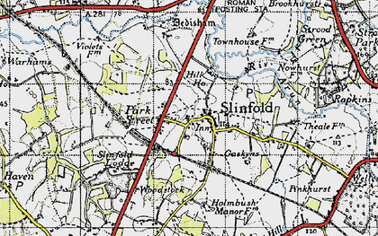 Old map of Slinfold in 1940