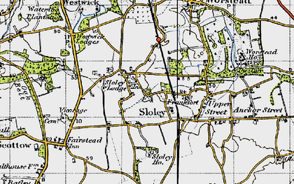 Old map of Worstead Sta in 1945