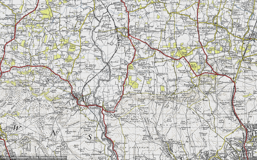 Old Map of Historic Map covering Woods Mill in 1940