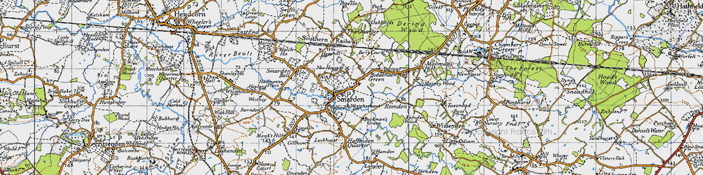 Old map of Smarden in 1940