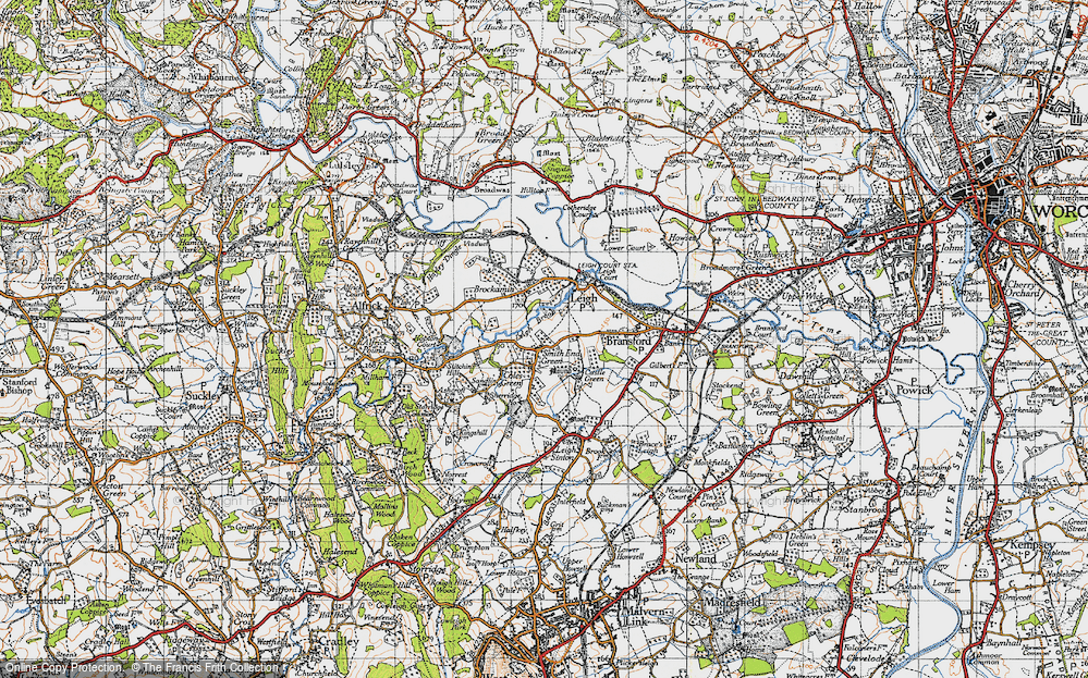 Old Map of Historic Map covering Leigh Brook in 1947