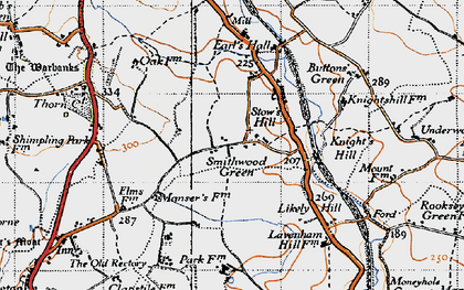 Old map of Lavenham Lodge in 1946