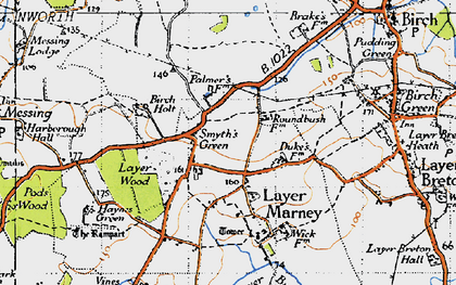 Old map of Layer Wood in 1945