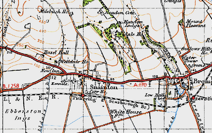 Old map of Wydale Cote in 1947