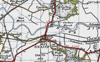 Old map of Snaith in 1947