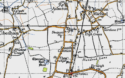 Old map of Tibenham Airfield in 1946