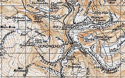 Old map of Y Lliwedd in 1947