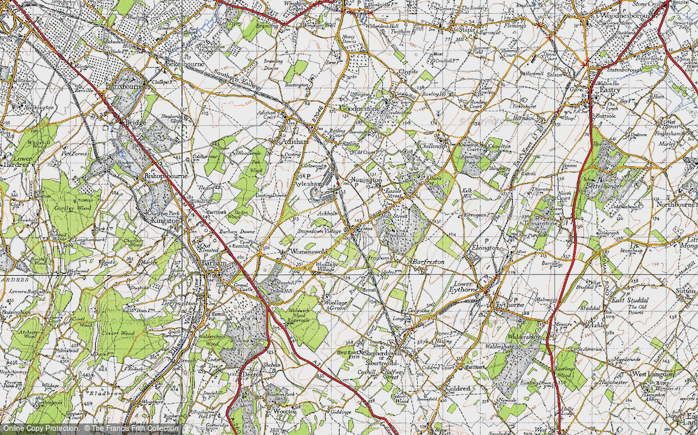 Old Map of Historic Map covering Ackholt in 1947
