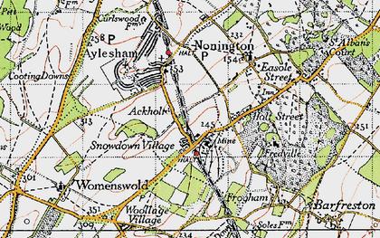 Old map of Ackholt in 1947