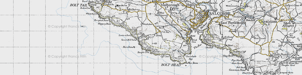 Old map of Lantern Rock in 1946