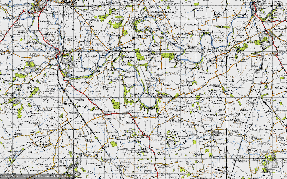Old Map of Historic Map covering Wood Head in 1947