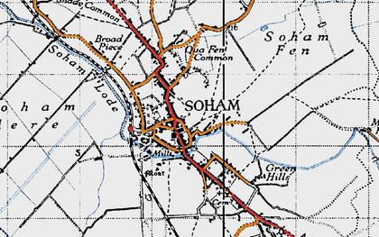 Old map of Soham in 1946