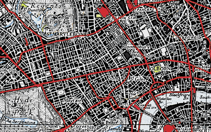 Old map of Soho in 1945