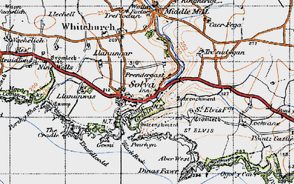 Old map of Aber-west in 1946