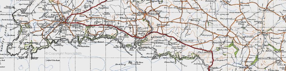 Old map of Solva in 1946