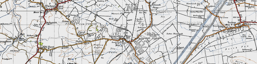 Old map of Somersham in 1946