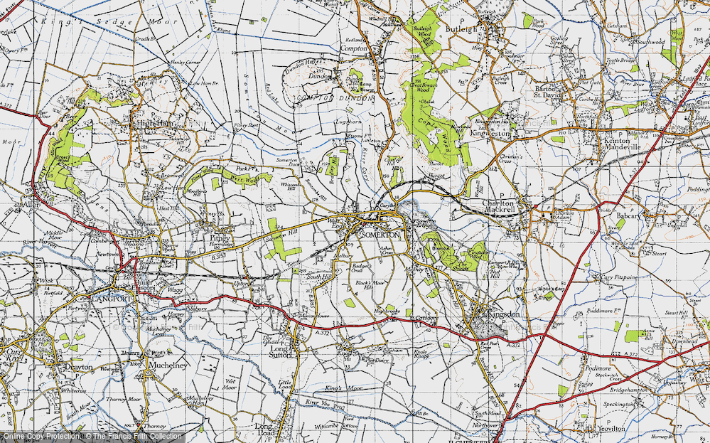 Old Map of Historic Map covering Badger's Cross in 1945