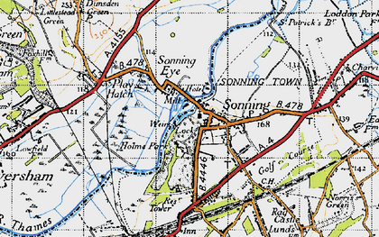 Old map of Sonning in 1947