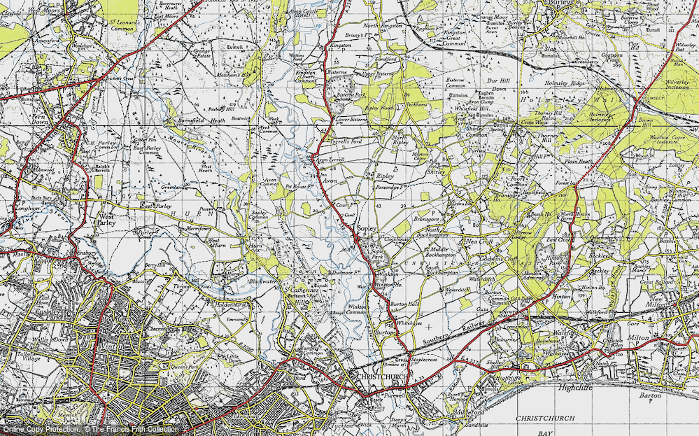 Old Map of Sopley, 1940 in 1940