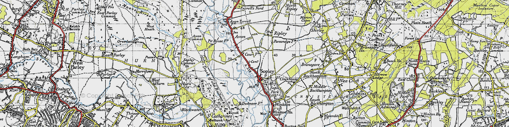 Old map of Sopley in 1940