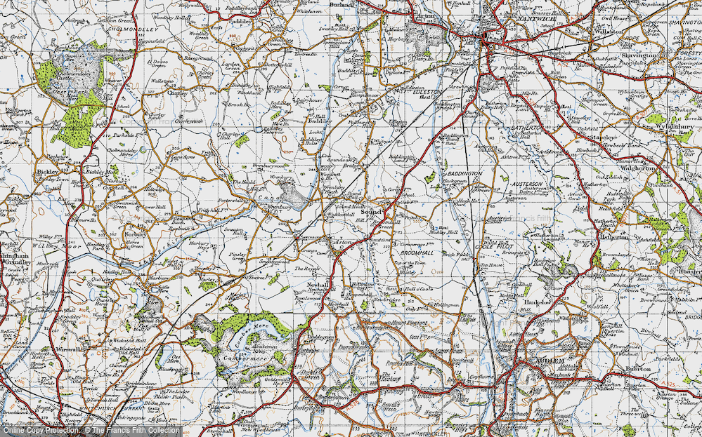 Old Map of Historic Map covering Woodcott Ho in 1947