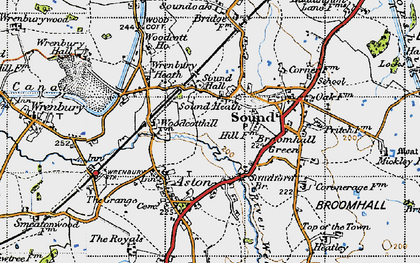 Old map of Wrenbury Sta in 1947