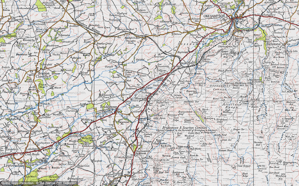 Old Map of Sourton, 1946 in 1946