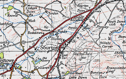 Old map of Sourton in 1946
