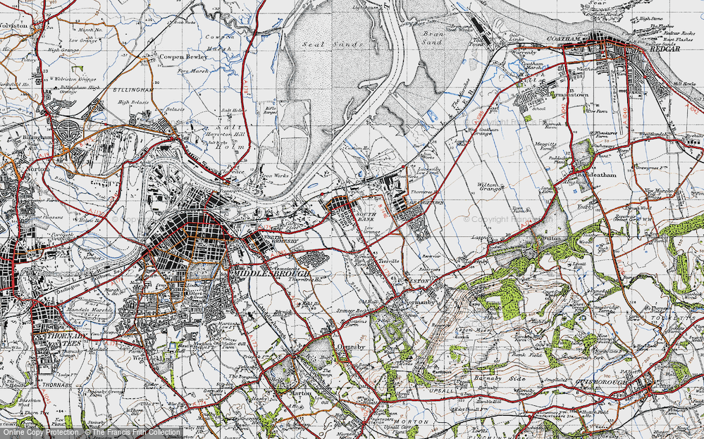Old Map of Historic Map covering Yorkshire in 1947