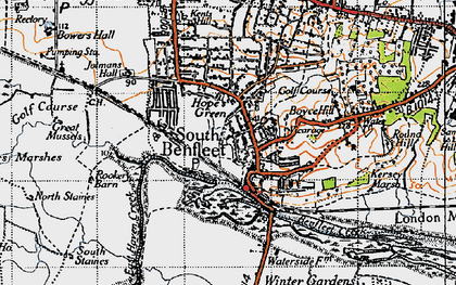 Old map of South Benfleet in 1945