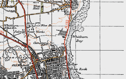 Old map of Whitburn Bay in 1947