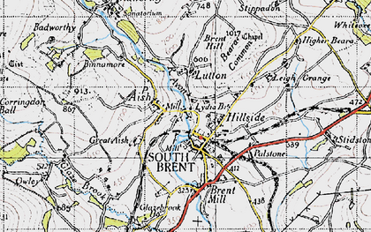 Old map of South Brent in 1946
