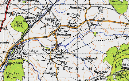 Old map of Alfred's Tower in 1946