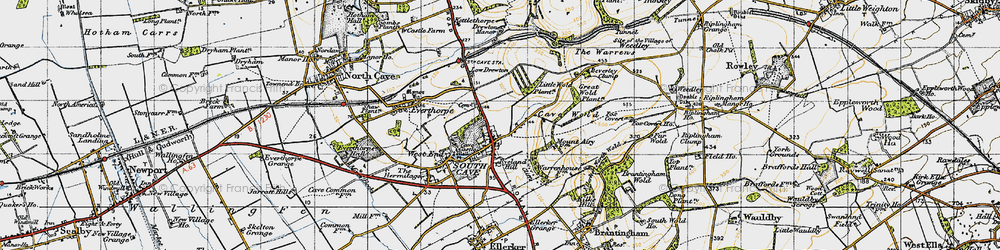 Old map of South Cave in 1947