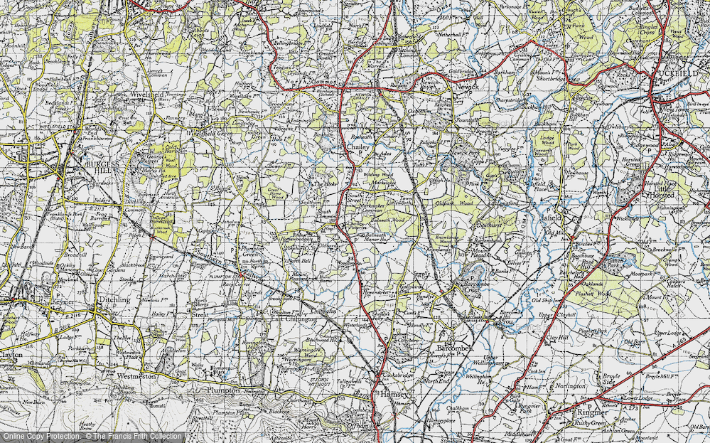 Old Map of Historic Map covering Balneath Wood in 1940