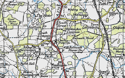 Old map of Balneath Wood in 1940