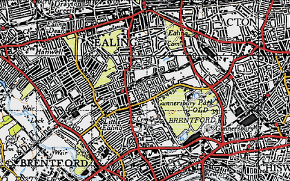 Old map of South Ealing in 1945