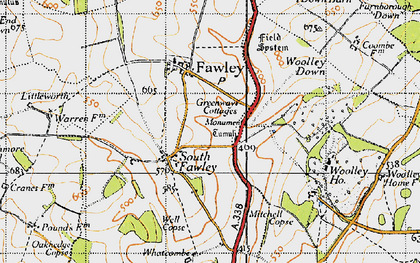 Old map of Whatcombe in 1947