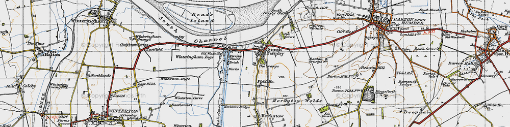 Old map of South Ferriby in 1947