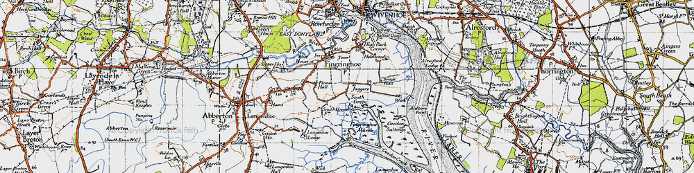 Old map of Langenhoe Marsh in 1945