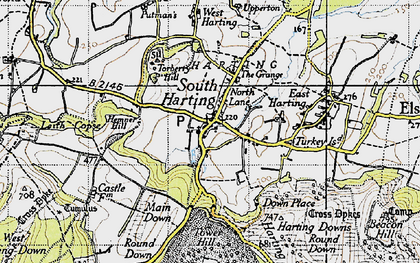 Old map of South Harting in 1945