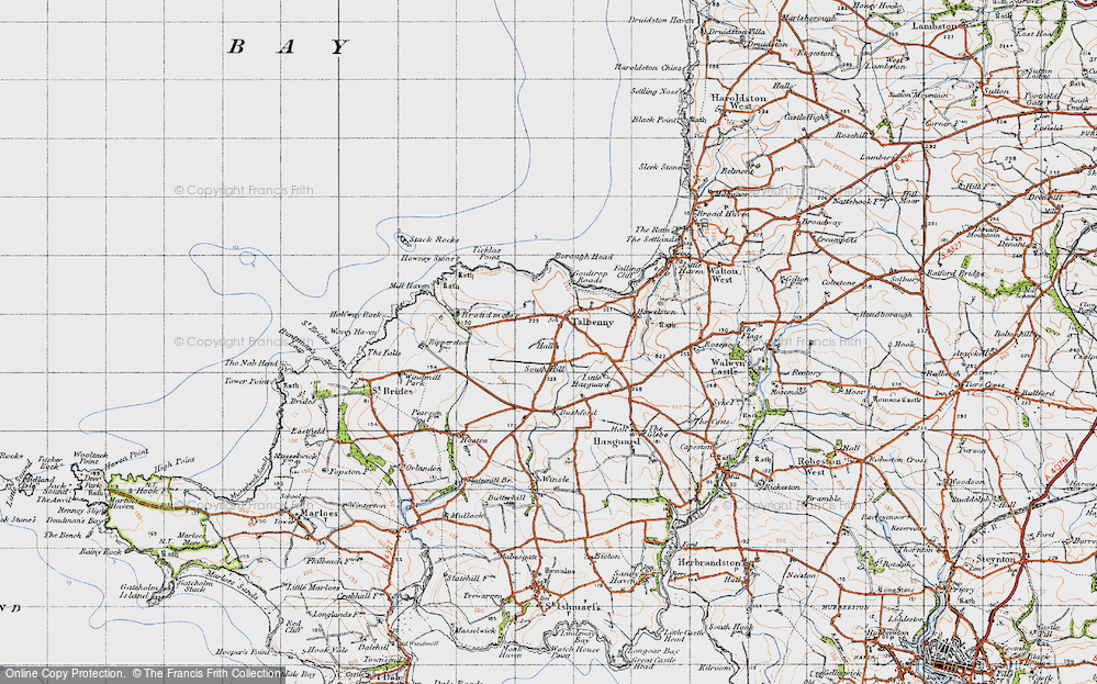 Old Map of Historic Map covering Ticklas Point in 1946