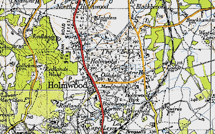 Old map of South Holmwood in 1940