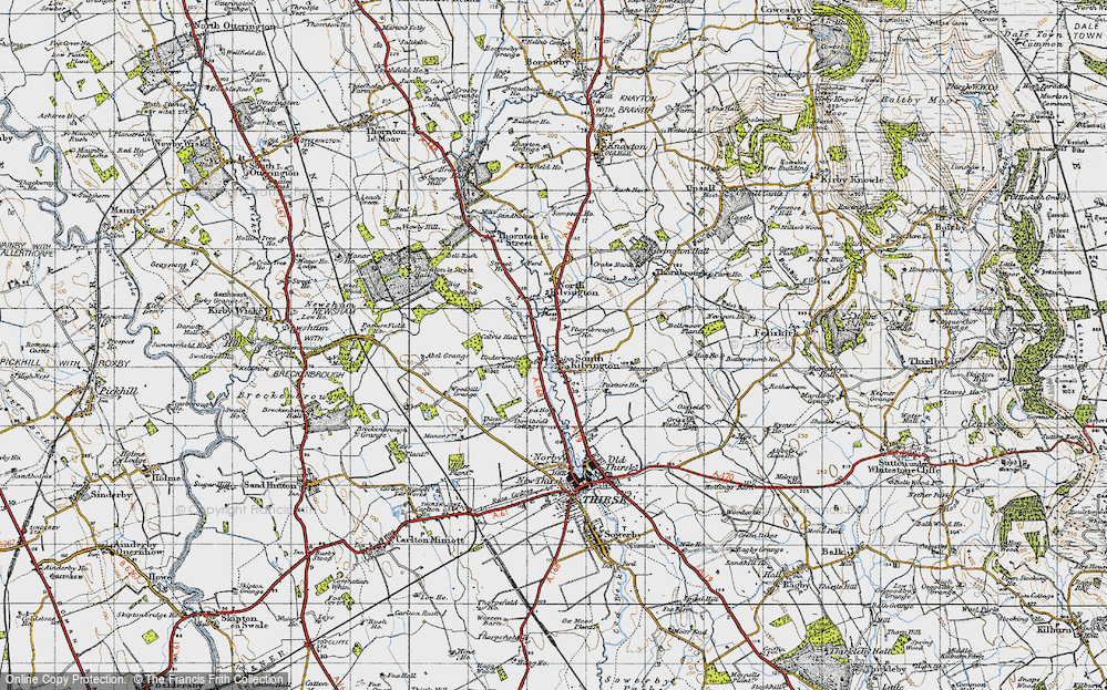 Old Map of Historic Map covering Woodhill Grange in 1947