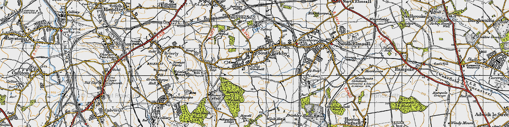 Old map of South Kirkby in 1947