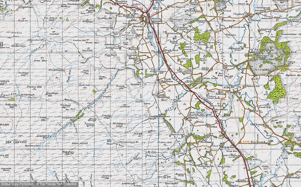 Old Map of Historic Map covering Lilburn Burn in 1947