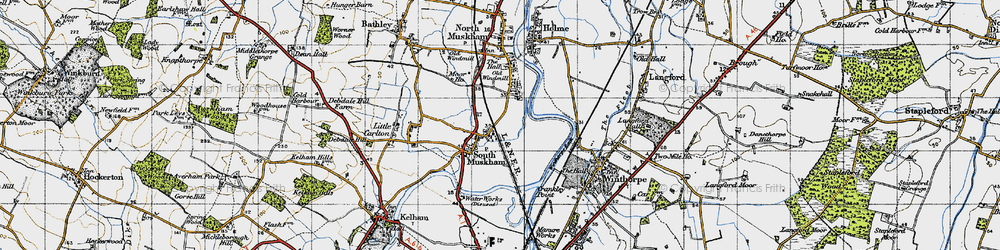 Old map of Winthorpe Lake in 1947
