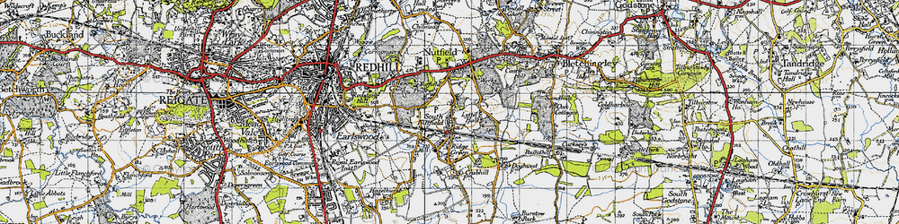 Old map of South Nutfield in 1940