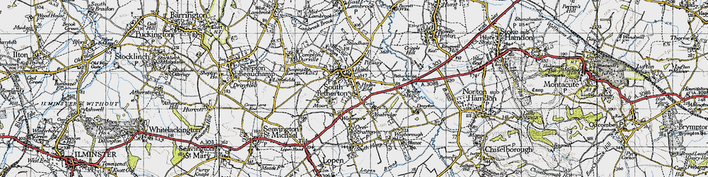 Old map of South Petherton in 1945