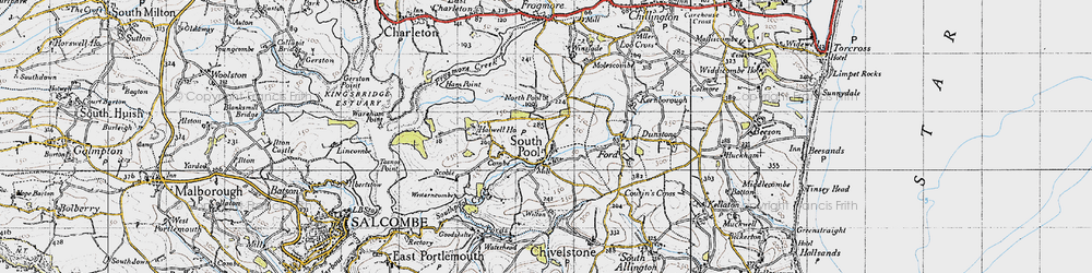 Old map of South Pool in 1946